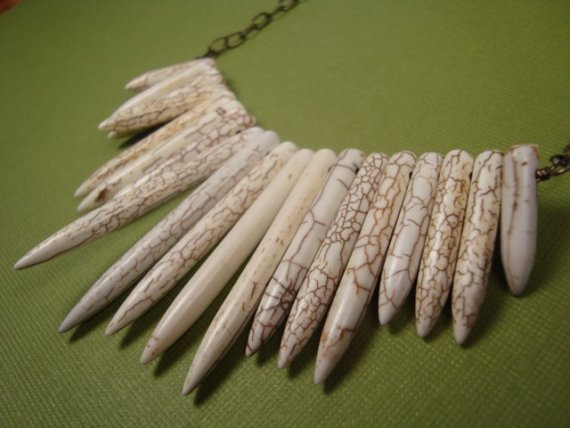 White turquoise spear like necklace  where the by persimmonjewelry