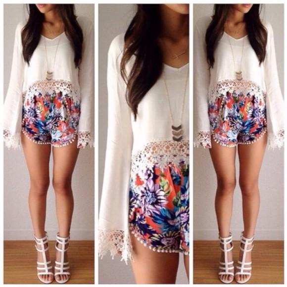 shorts floral shorts patterned shorts white lace top high heels white high heels white blouse colorful shorts heels, white, straps, strappy, elegant shirt