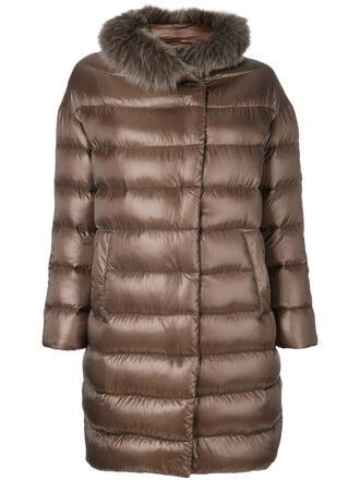 coat fur fox women cotton brown