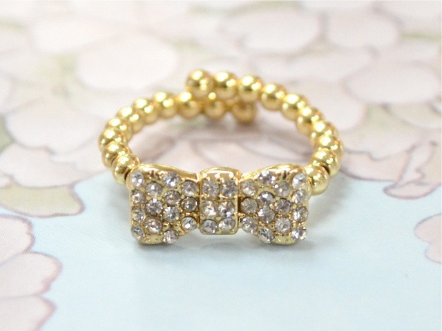 Rhinestone Bow Ring - GOLD | jeneelovee