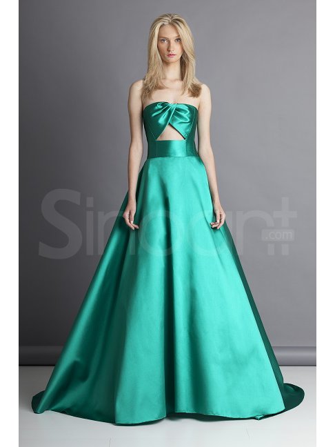 Line strapless neckline sweep train prom dress under 200