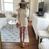 southern curls and pearls,blogger,jewels,shoes,white shorts,mini bag,floppy hat,beige sweater,wedges