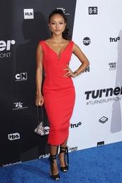 dress,red dress,red,karrueche,sandals,sandal heels,midi dress,celebrity