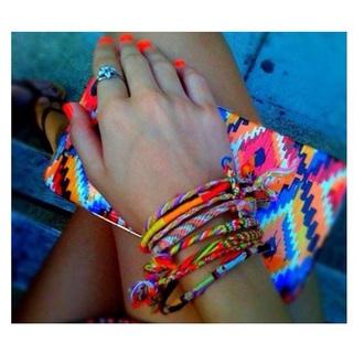 jewels bracelets ring fluo bag