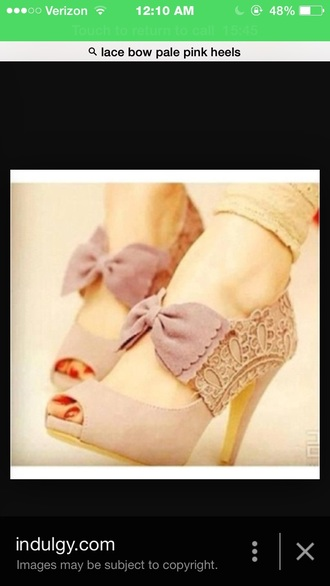 shoes pink pale pink champagne rose light pink lace bow peep toe heels