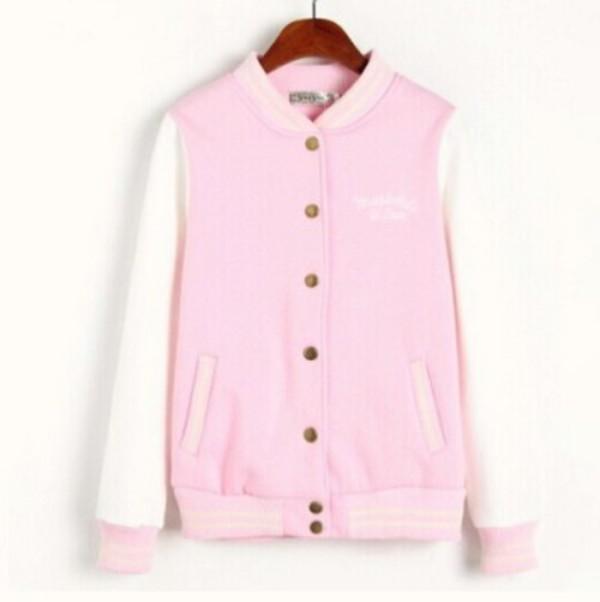 Jacket: kawaii, kawaii, pink, pastel, pastel pink, letterman ...
