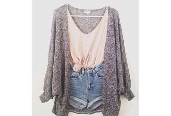 shorts singlet top cardigan grey denim