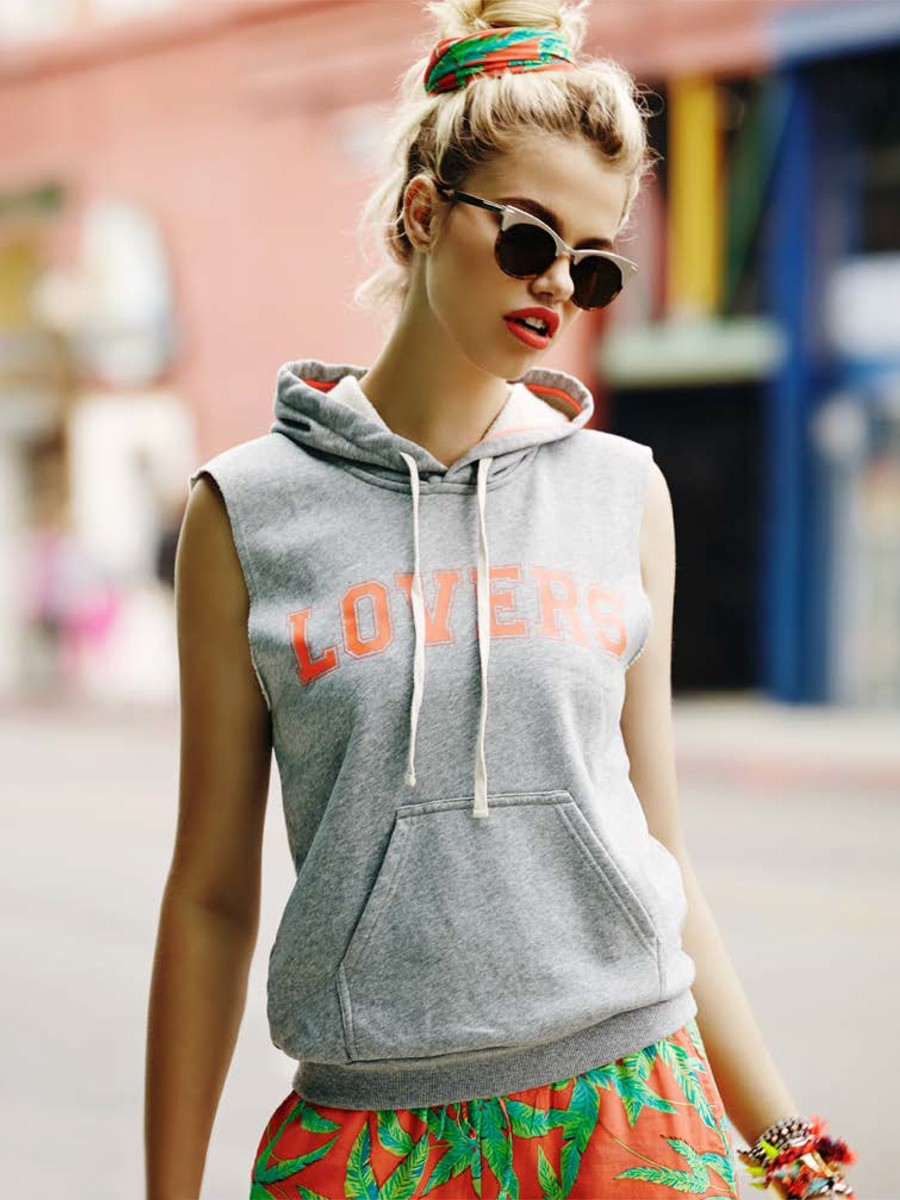 Lovers & friends afternoon hoodie in heather grey as seen on rihanna