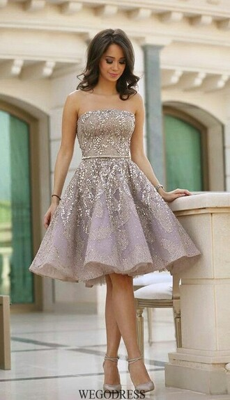 dress sparkle knee length a line
