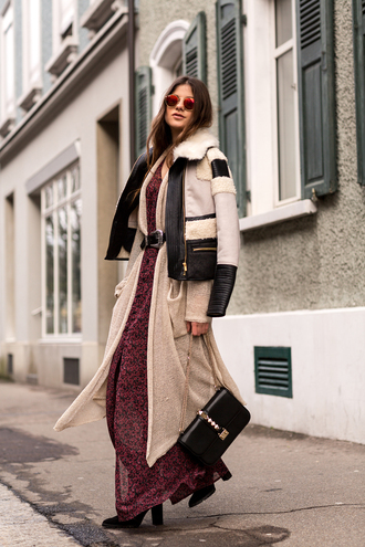 the fashion fraction blogger mirrored sunglasses shearling jacket knitted cardigan maxi dress belted dress dress jeans cardigan jacket tights shoes bag belt sunglasses jewels