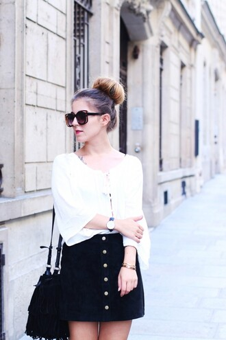 elodie in paris blogger button up skirt white blouse