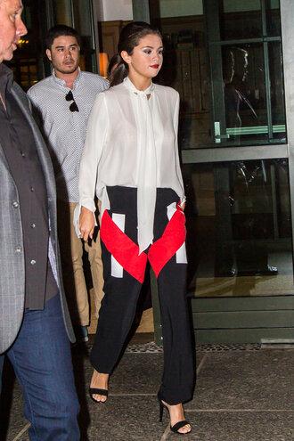 pants blouse selena gomez sandals