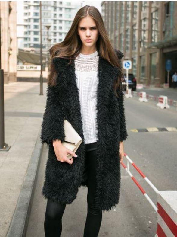 Black long line soft faux fur coat