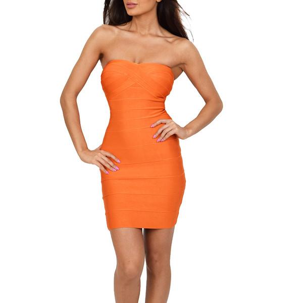 Kim - Low-Cut Orange Sleeveless Bandage Dress | Emprada