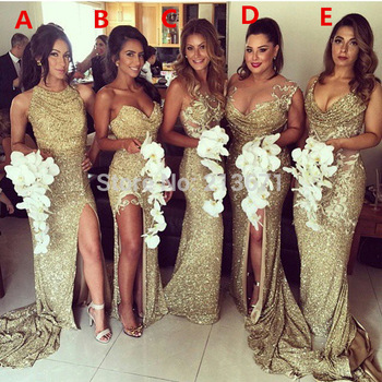 2015 Sheath Sweetheart Floor Length Gold Squins Slit Long Cheap ...