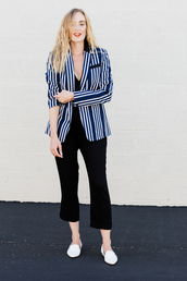 eat sleep wear,blogger,jacket,shoes,jewels,stripes,striped jacket,black top,black pants