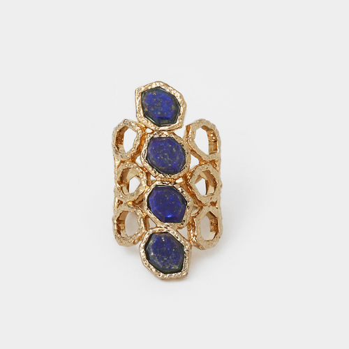 Blue Lapis Goddess Honeycomb Ring by Isharya