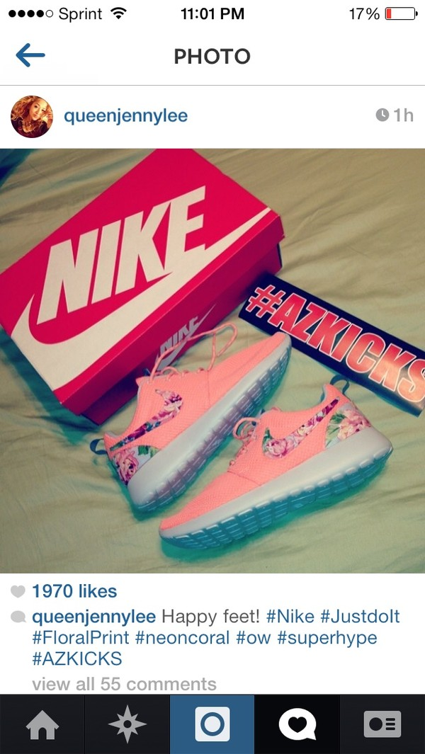 shoes nike running shoes coral floral nikes