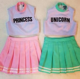 tank top bff unicorn princess lovely girly crop tops skirt cute matching shirts matching skirt and top outfit