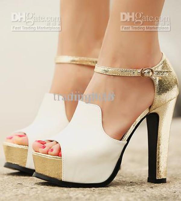 heels white and gold heels heels white