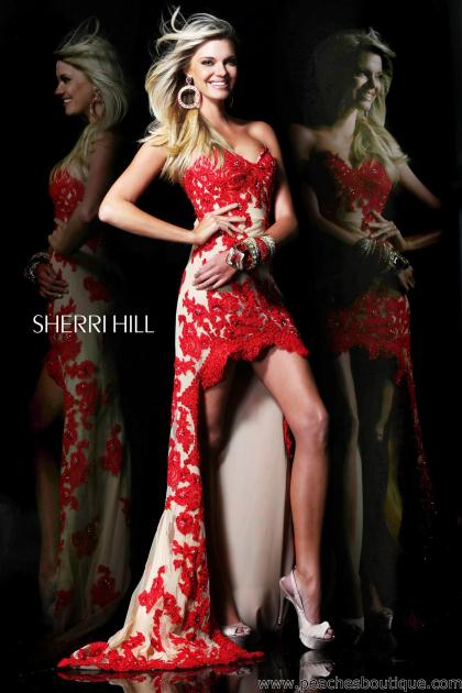 2014 Sherri Hill Floral Lace Prom Dress 21016