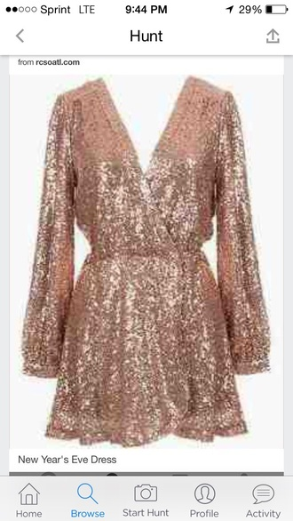 dress short dress long sleeve dress sequin dress short dress. it looks layered. see through dress gold sequins gold dress new year's eve prom dress party outfits pary