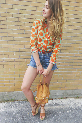 top blouse orange