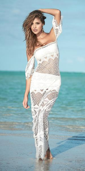 Mapale Ivory Off the Shoulder Long Three Piece Crochet Beach Dress Cover-Up
