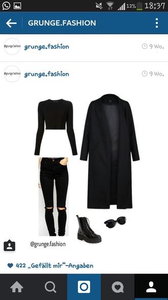 t-shirt black grunge jeans