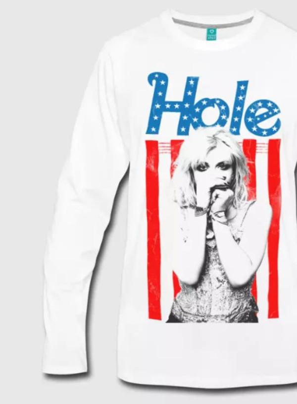 t-shirt hole grunge seattle courtney love flag nirvana shirt t-shirt american england australia canada spain italy germany france rock longsleeve shirt usa