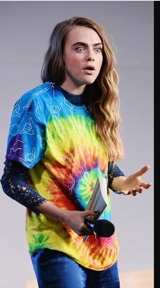 shirt cara delevingne shirt tie dye tie dye shirt unisex