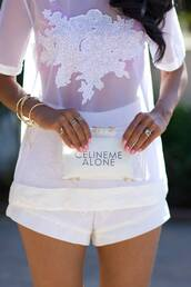 blouse,shorts,jewels,bracelets,ring,white,see through,celine,clutch,shirt