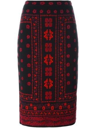 skirt pencil skirt knit women black silk wool