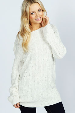 Katy Nep Cable Tunic Jumper at boohoo.com