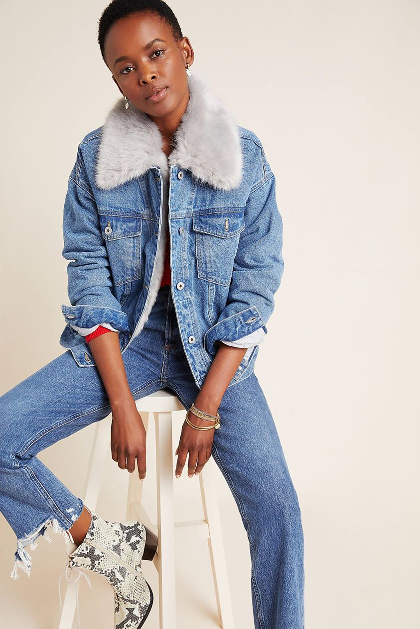 Pilcro Faux Fur Collar Denim Jacket by and the Letterpress in Blue