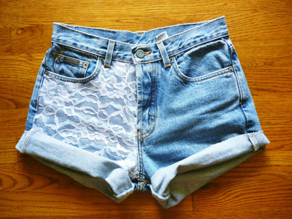 Vintage High Waisted Lace Accented Jean shorts by AutomaticDoll