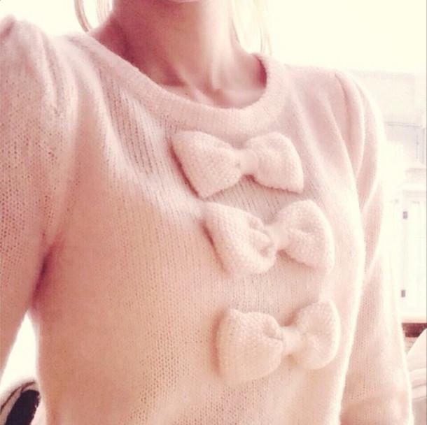 sweater bows knitwear knittwear jumper pink