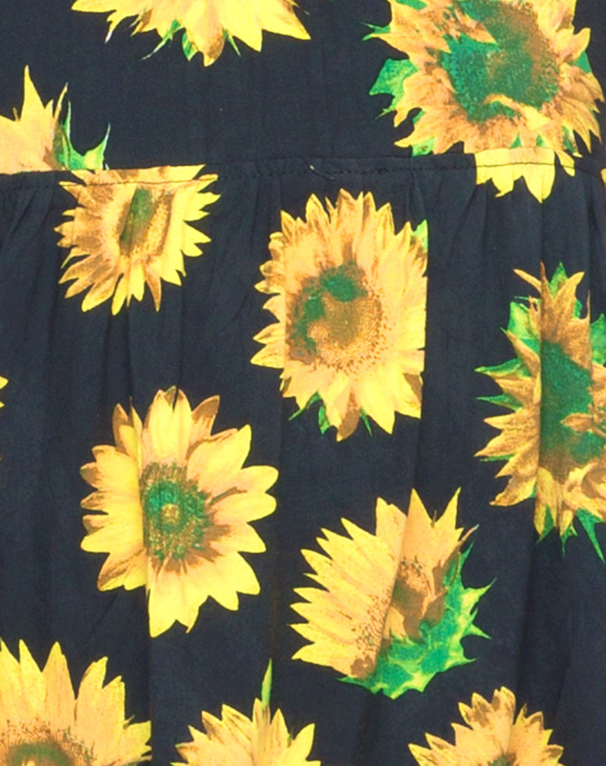 Motel Tiara Babydoll Dress in Sunflower Print