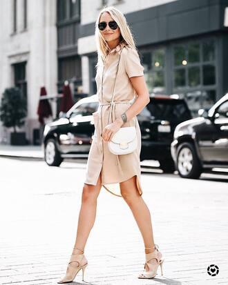 dress tumblr shirt dress nude dress midi dress sandals sandal heels high heel sandals nude sandals sunglasses bag white bag shoes fashionjackson blogger shorts t-shirt jewels