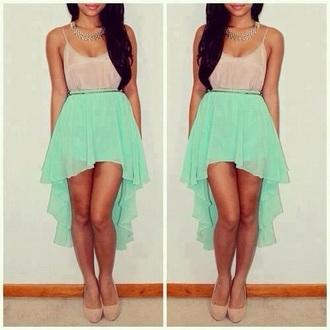 skirt mint mint green skirt high low skirt