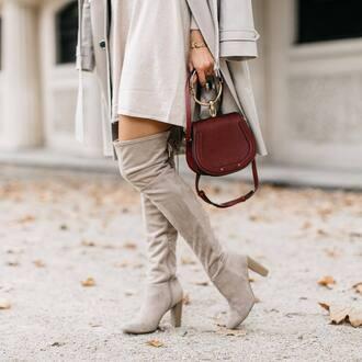 dress white dress shoes coat neutral coat bag red bag