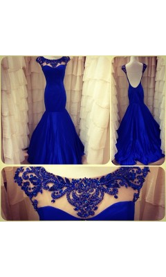 Wonderful mermaid gown with vivid trim 21281 shown in electric blue