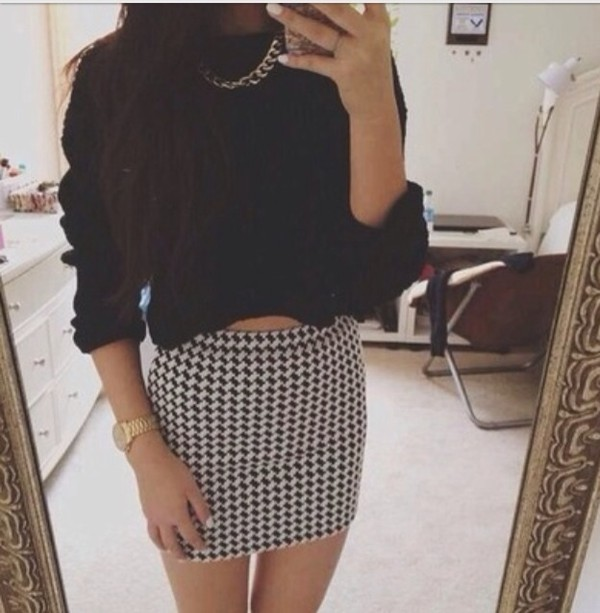 skirt dogtooth skirt sweater