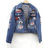jacket,denim,denim jacket,patch,patchwork,90s style