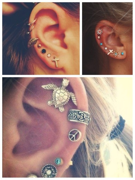 jewels cross cross earring helix helix piercing earrings turtle cute girly ear rose colorful flower leave ring