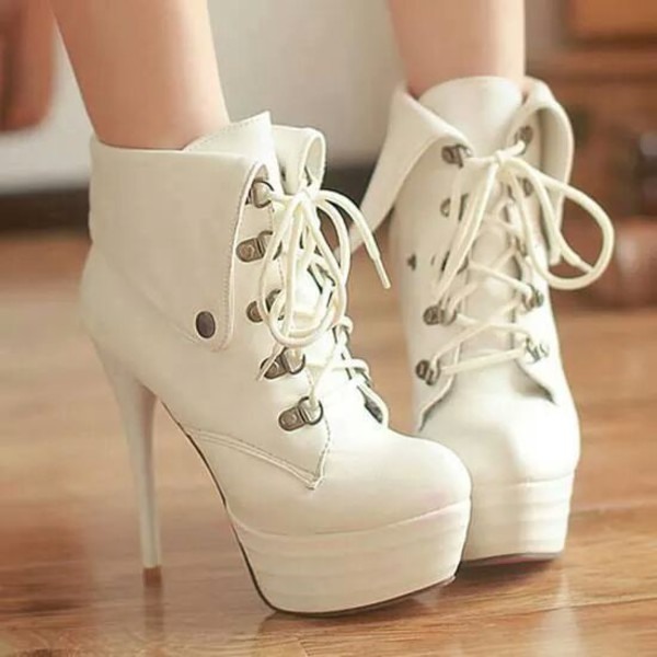 shoes high heels heels platform lace up boots white fashion white high heels lace up want them high heel boots ankle boots cute white heels style girly