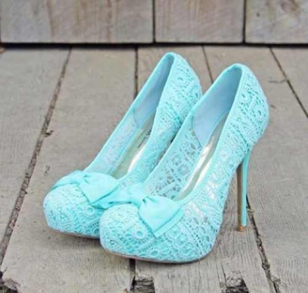 shoes blue light blue high heels high heel beautiful prom bow girly