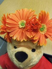 jewels,orange daisy,flower crown,bun wrap