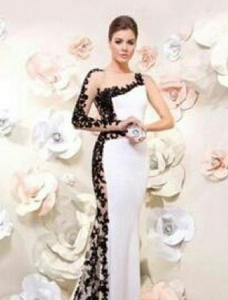 Dress: white, black, wedding, lace wedding dress, long dress, maxi ...