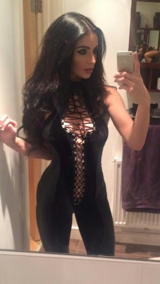 jumpsuit phone party catsuit girl pretty night out brunette selfie